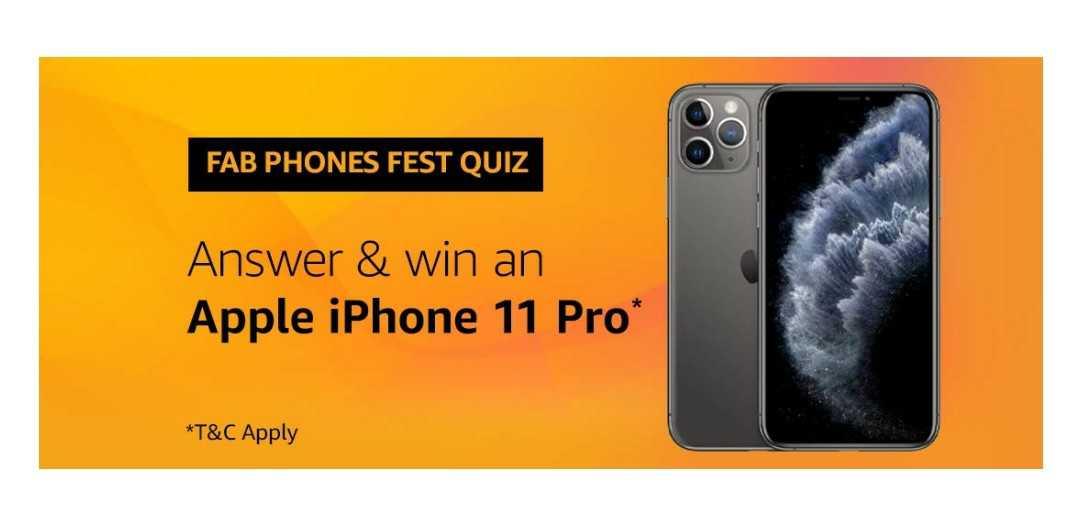 Amazon Fab Phone Fest Quiz Answers: Win Apple iPhone 11 Pro