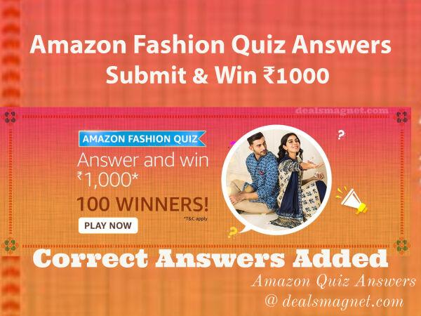 Amazon Fashion Quiz Answers: Win Rs.1000 Amazon Pay Balance