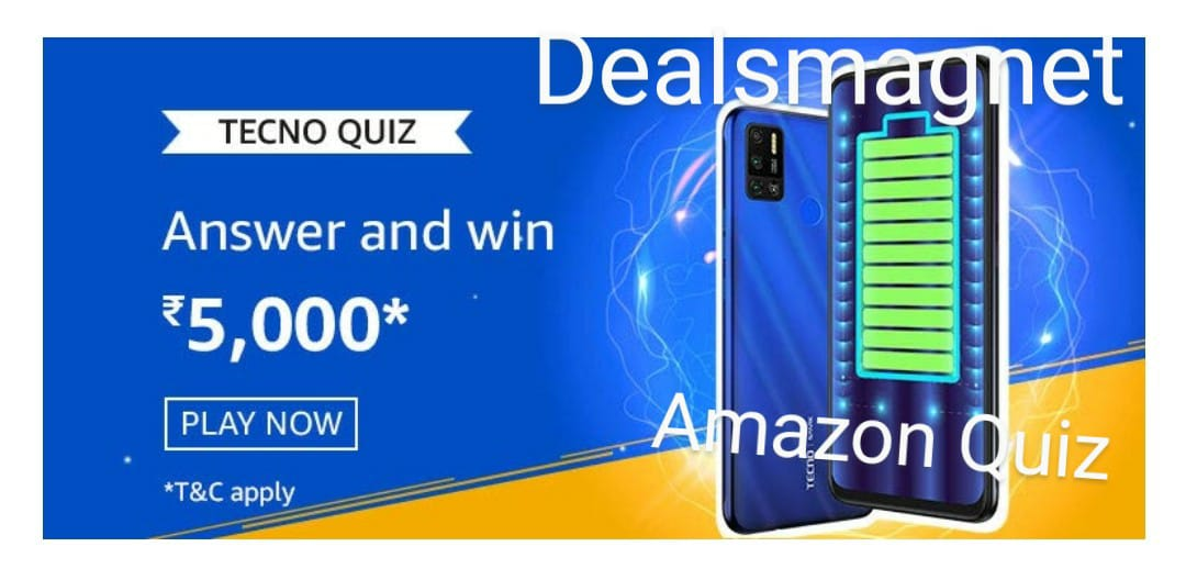Tecno Quiz answers: Submit answers & Win Rs.5,000