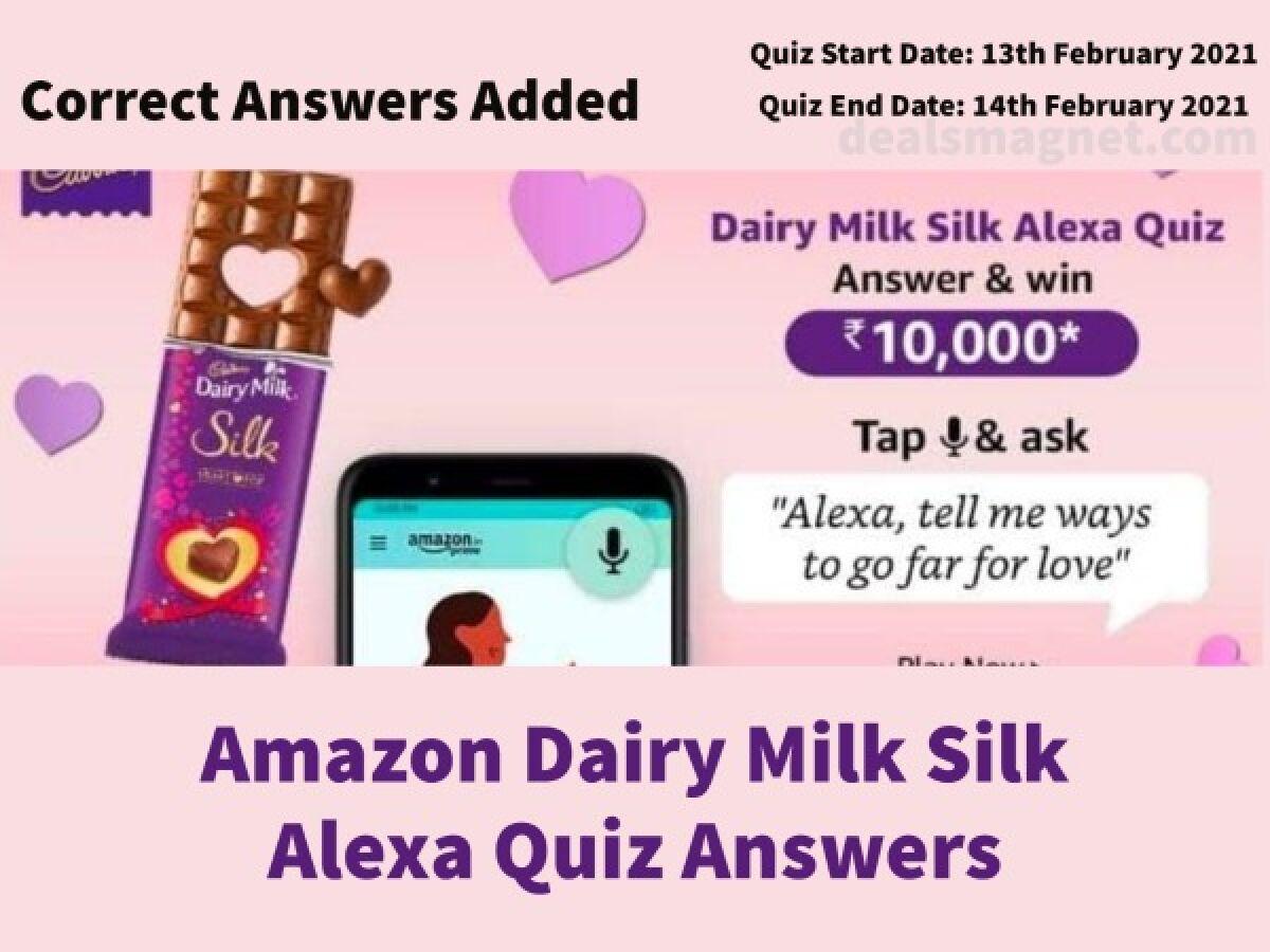 Dairy Milk Silk Alexa Quiz Answers: Win Rs.10,000 for 5 Winners