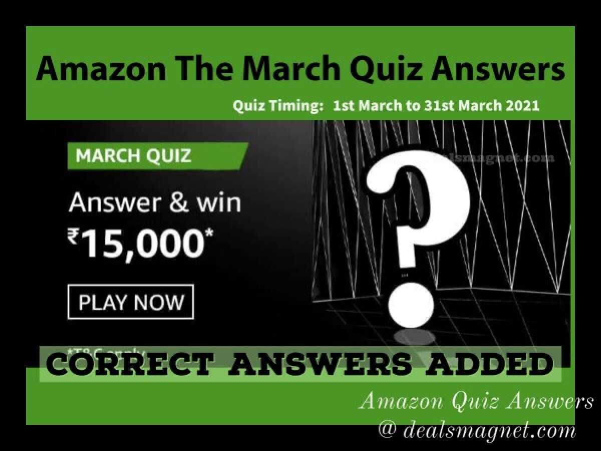 Amazon March Quiz Answers: Win ₹15,000 for 6 Winners