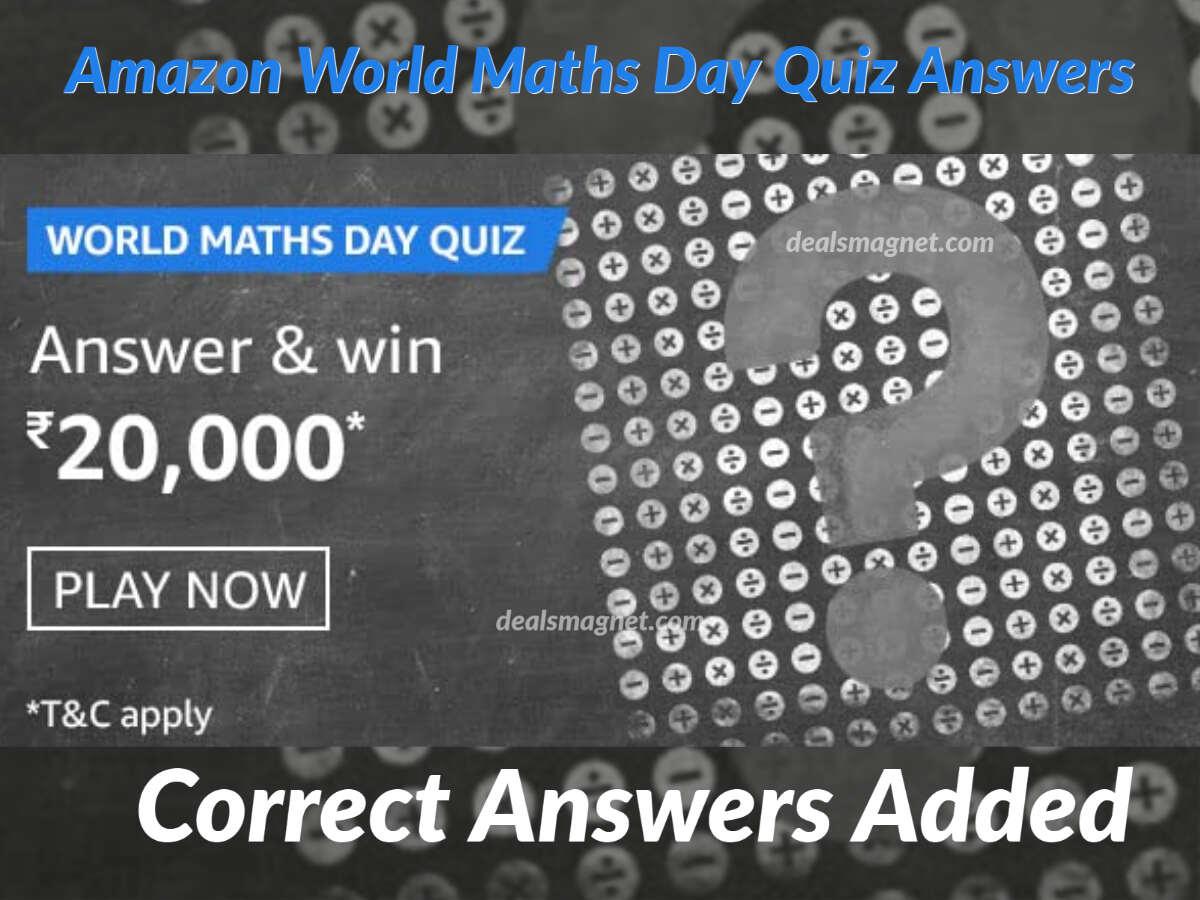 World Maths Day Quiz Answers for Amazon Funzone: Win ₹20,000