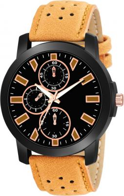 VeBNoR Black dial Brown Leather Strap Analog Watch  - For Boys