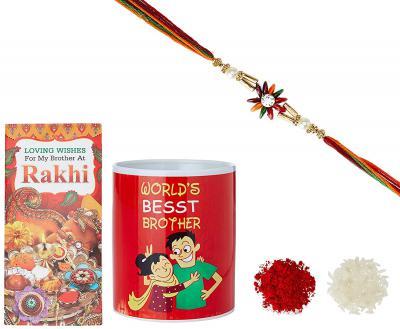 Aheli AD Pearl Rakhi for Men with Mug & Greeting Card and Roli Chawal Tilak (Gold) (RCM1)