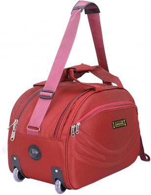 alfisha (Expandable) Unisex Synthetic Lightweight Waterproof Luggage Travel Duffel Bag with Roller wheels ( Red Sada, AF