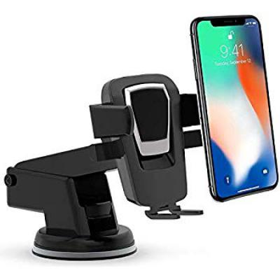 Efinito Car Mobile Phone Holder Easy One Touch Universal Car Mount Phone Holder for Android and iOS Devices (Black)