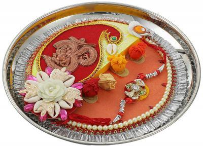 Aheli Om Ganesh Design Thali & Rakhi with Roli Chawal Tilak