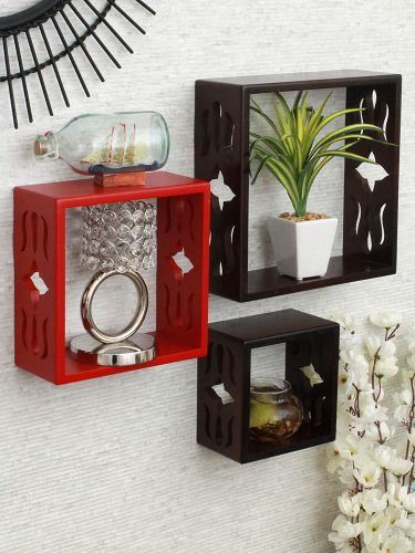 Home Sparkle Set of 3 Cube Wall Shelves (Brown and Red)