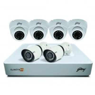 Godrej Security Solutions See Thru 1080P 8 Channel 4 Dome 2 Bullet Cameras HD Full CCTV Camera Kit (White)