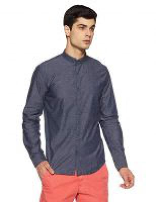 Breakbounce Mens Solid Slim Fit Casual Shirt (SH1203_Dark Navy_Medium)