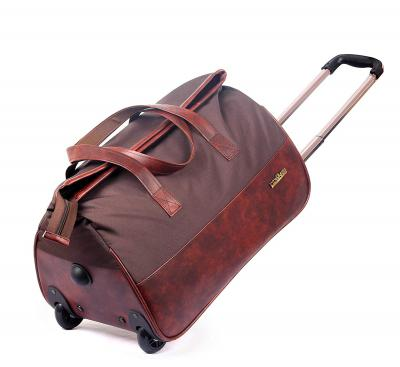 The Clownfish Voyager liters Faux Leather Travel Duffle Trolley, Duffel Bag (Wine Red)