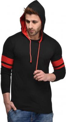 Cenizas Solid Men Hooded Black T-Shirt