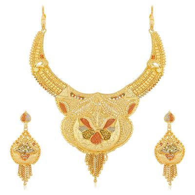 Apara Gold Plated Mint Meenakari Earring Necklace One Gram Jewellery Set