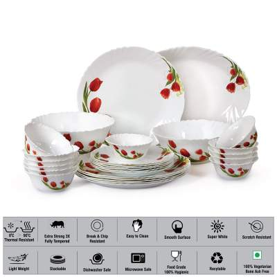 Cello Imperial Red Bloom Opalware Dinner Set, 27 Pieces, White