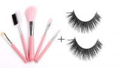 BOLDNYOUNG Makeup Brush Set of 5 with (Pink) with False Eyelashes, (Black)