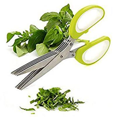 LMS Stainless Steel 5 Blades Herb Scissor, Multicolour