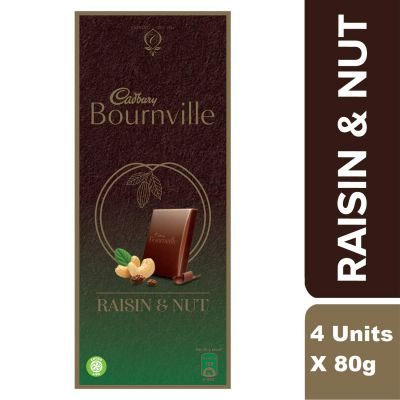 Cadbury Bournville Raisin and Nuts Dark Chocolate Bar, 80g (Pack of 4)