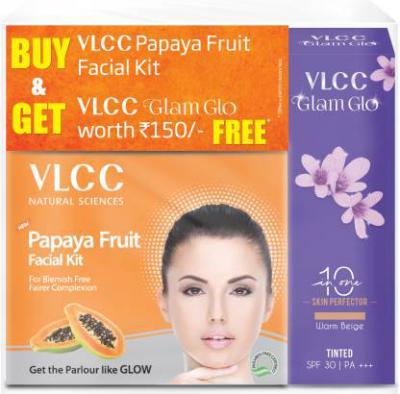VLCC Papaya Fruit Facial kit + Glam glow 90 g  (Set of 2)