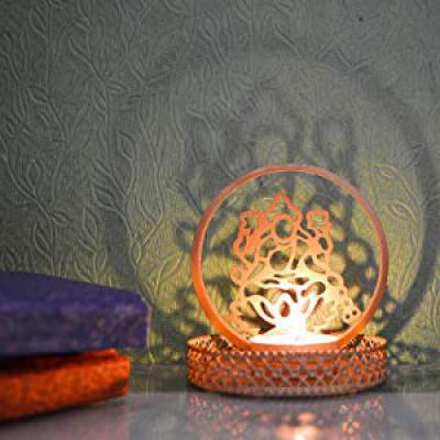 eCraftIndia Goddess Laxmi Aluminum Tea Light Holder