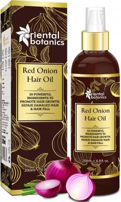 Oriental Botanics Red Onion Hair Growth Oil With Castor, Bhringraj, Almond, 30 Oils & Extracts - Repairs Damaged Hair
