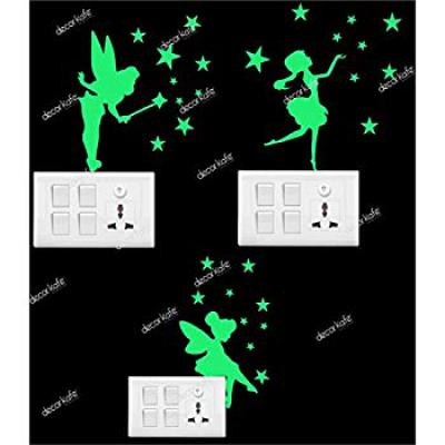 Decor Kafe Vinyl Cute Fairy Switch Glowing Stickers (Pack of 3)