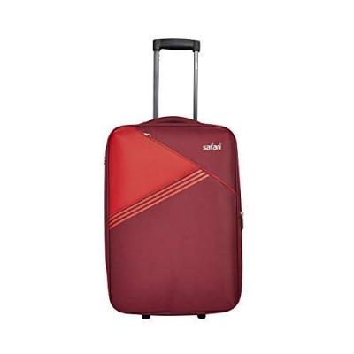 Safari Angle 80 Cms Polyester Red Check-In 2 Wheels Soft Suitcase