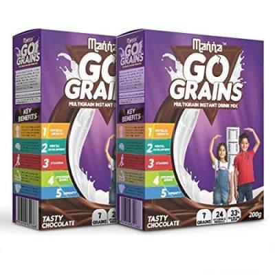 Manna Go Grains Nutrition Drink  (400 g, Chocolate Flavored)