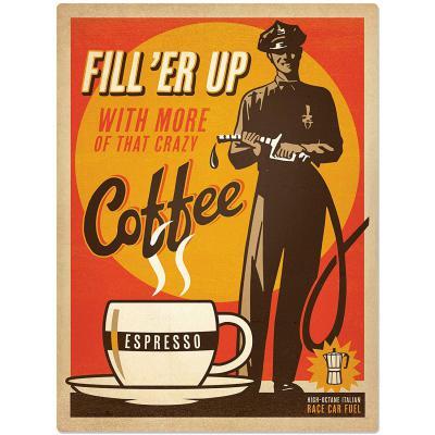 Sehaz Artworks 'Filler Up Coffee' Rectangular Wall Sign (MDF, 30 cm x 20 cm)
