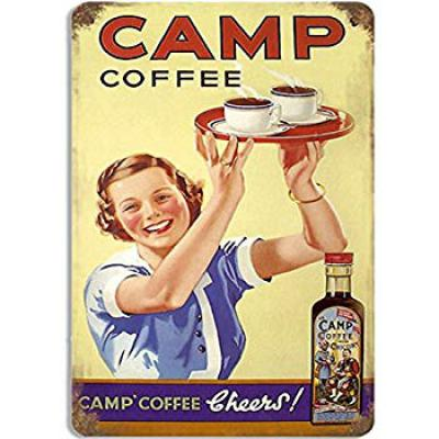 Sehaz Artworks 'Camp Coffee' Rectangular Wall Sign Decal (Wooden, 30 cm x 20 cm x 1 cm)