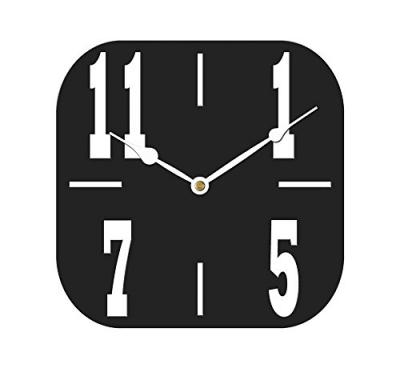 Sehaz Artworks Big4Number Rectangular Wooden Wall Clock (25.5 cm x 25.5 cm x 3 cm, Black)