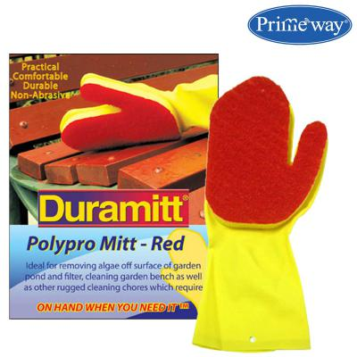 Primeway Duramitt Red Polypropylene Scour Scrub Sponge Cleaning Mitt Gloves