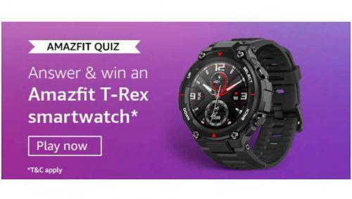 Amazon Amazefit Quiz Answers: Win Amazefit T-Rex Smartwatch