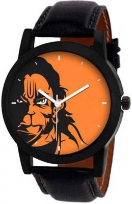 Hanuman printed with orange display, Black leather belt Analog Watch - For Men