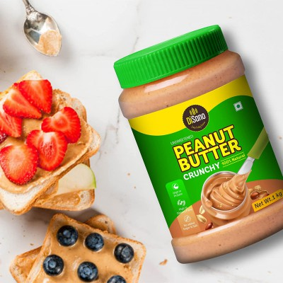 DiSano All Natural Peanut Butter, Crunchy, 30% Protein, Unsweetened, Gluten-Free, 1 Kg...