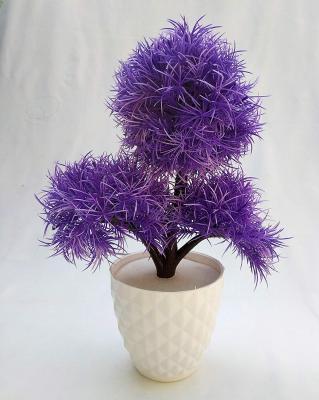 Discount4product Soft Plastic Artificial Flower with Pot (10 cm x 10 cm x 25 cm, Purple)