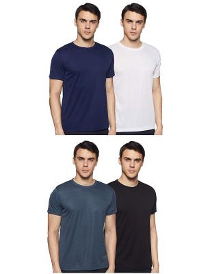 6 Degrees Men's Solid T-Shirt (Pack of 4)