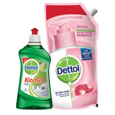 Dettol Kitchen Gel - 400 ml (Lime) with Dettol Skincare Liquid Soap Refill - 750 ml