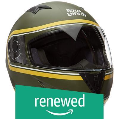 (Renewed) Royal Enfield Battle Green & Yellow Full Face With Visor Helmet Size (XL) 62 CM (RRGHEK000006)