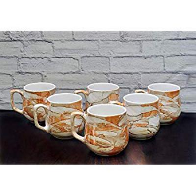 FARKRAFT Ceramic Gloss Finish Tea and Coffee Cups (Golden and Brown) - Set of 6