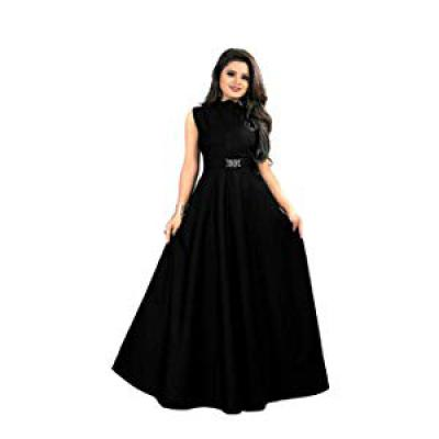 Vaidehi creation Womens Twill Tafeta Anarkali Style Gown Black