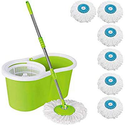 DAIVE Mop Floor Cleaner with Bucket Set Offer with Big Wheels for Best 360 Degree Easy Cleaning, Green with 6 Microfiber
