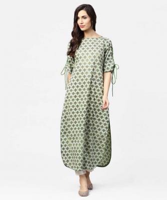 Nayo Women Printed Straight Cotton Blend Kurta