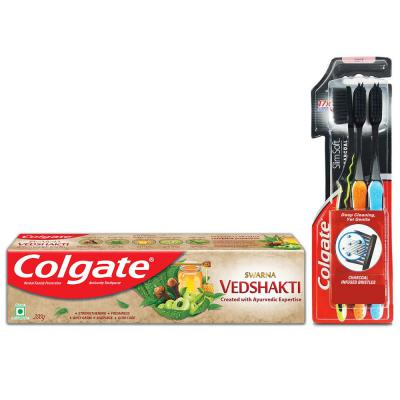Colgate Swarna Ved Shakti Toothpaste - 200 g with Colgate Slim Soft Charcoal Toothbrush