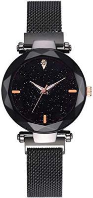 Acnos Black Glass Black dial Magnetic Belt Black Analog Watch for Men and Women Pack of - 1