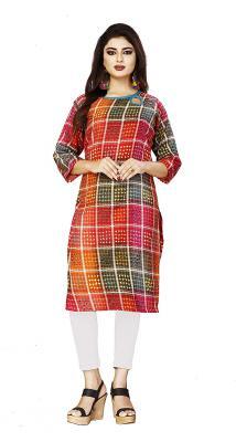 DEIDAD Women Stitched Printed Rayon Staright Kurti