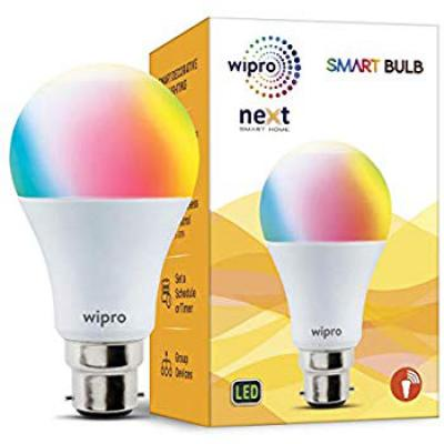 Wipro WiFi Enabled Smart LED Bulb B22 9-Watt (16 Million Colors) (Compatible with Amazon Alexa and Google Assistant)