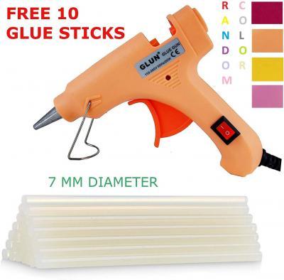 Glun 20-Watt 7MM Hot Melt Glue Gun with 10 Transparent Glue Sticks