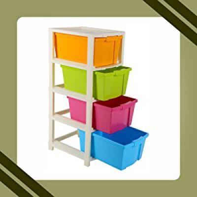Joyful Studio 4 XLPlastic Modular Drawer System, Multi Colour (31cmx39cmx80.9 cm, Multicolour)...