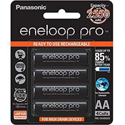 Panasonic Battery Eneloop Pro Upto 2550mAh 4xAA Rechargeable Ni-MH Battery BK-3HCCE/4BN