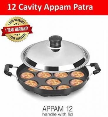 BMS Lifestyle Non-Stick 12 Cavity Appam Patra Side Handle with lid Paniyarakkal with Lid  (Aluminium, Non-stick)